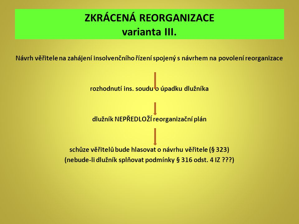 ZKRÁCENÁ REORGANIZACE varianta III.