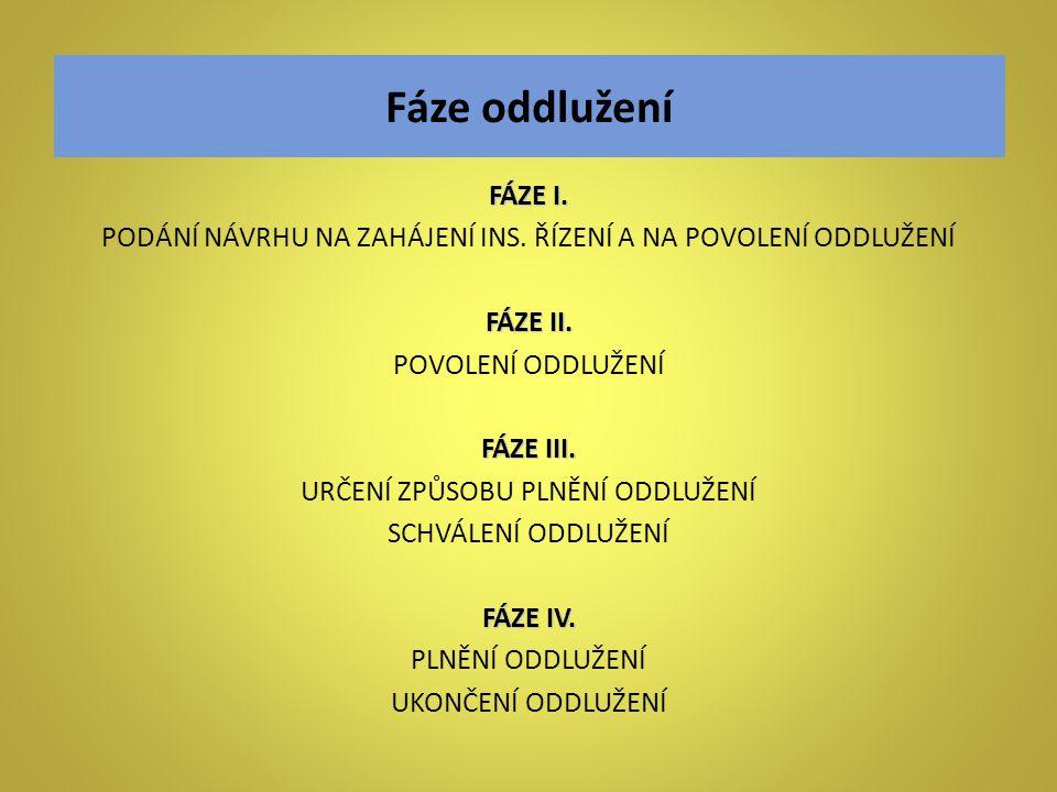 Fáze oddlužení FÁZE I. PODÁNÍ NÁVRHU NA ZAHÁJENÍ INS. ŘÍZENÍ A NA POVOLENÍ ODDLUŽENÍ. FÁZE II. POVOLENÍ ODDLUŽENÍ.