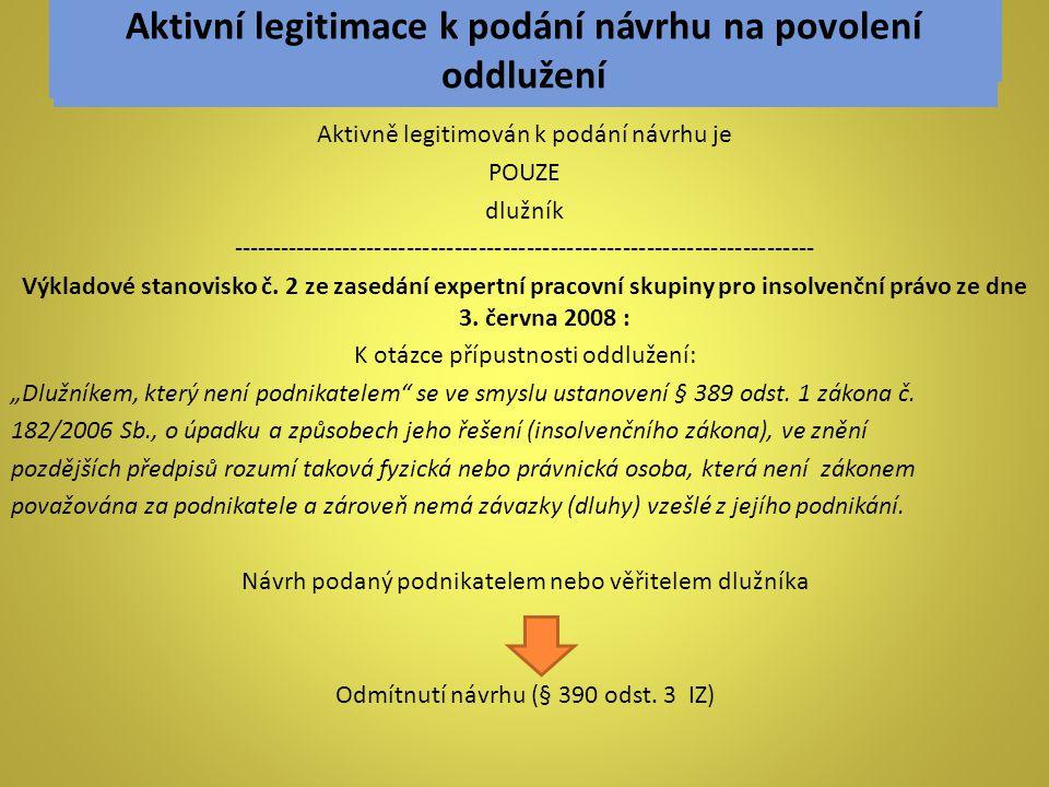 Aktivní legitimace k podání návrhu na povolení oddlužení