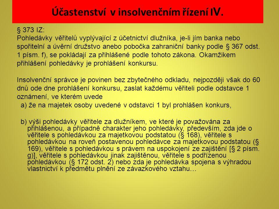 Účastenství v insolvenčním řízení IV.