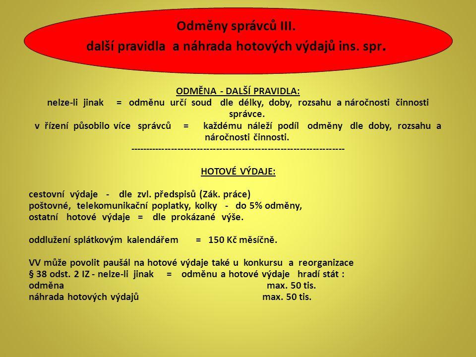 Odměny správců III. další pravidla a náhrada hotových výdajů ins. spr.