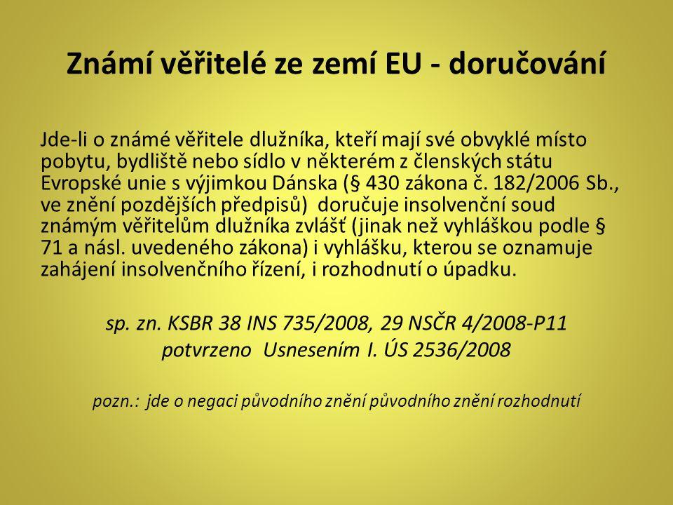 Známí věřitelé ze zemí EU - doručování