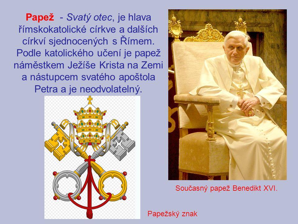 Papež - Svatý otec, je hlava římskokatolické církve a dalších církví sjednocených s Římem. Podle katolického učení je papež náměstkem Ježíše Krista na Zemi a nástupcem svatého apoštola Petra a je neodvolatelný.