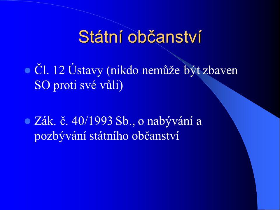 Státní občanství Čl. 12 Ústavy (nikdo nemůže být zbaven SO proti své vůli) Zák.
