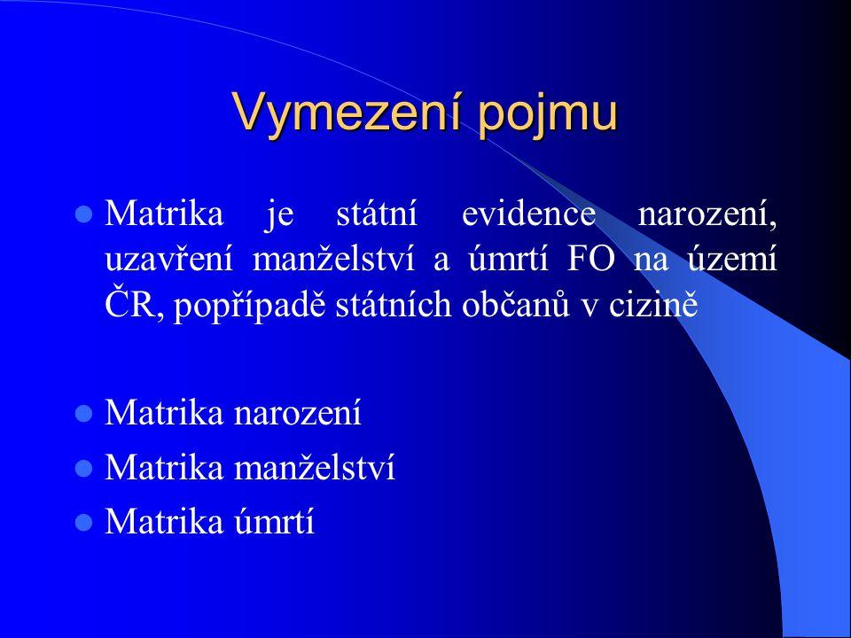 Vymezení pojmu Matrika je státní evidence narození, uzavření manželství a úmrtí FO na území ČR, popřípadě státních občanů v cizině.