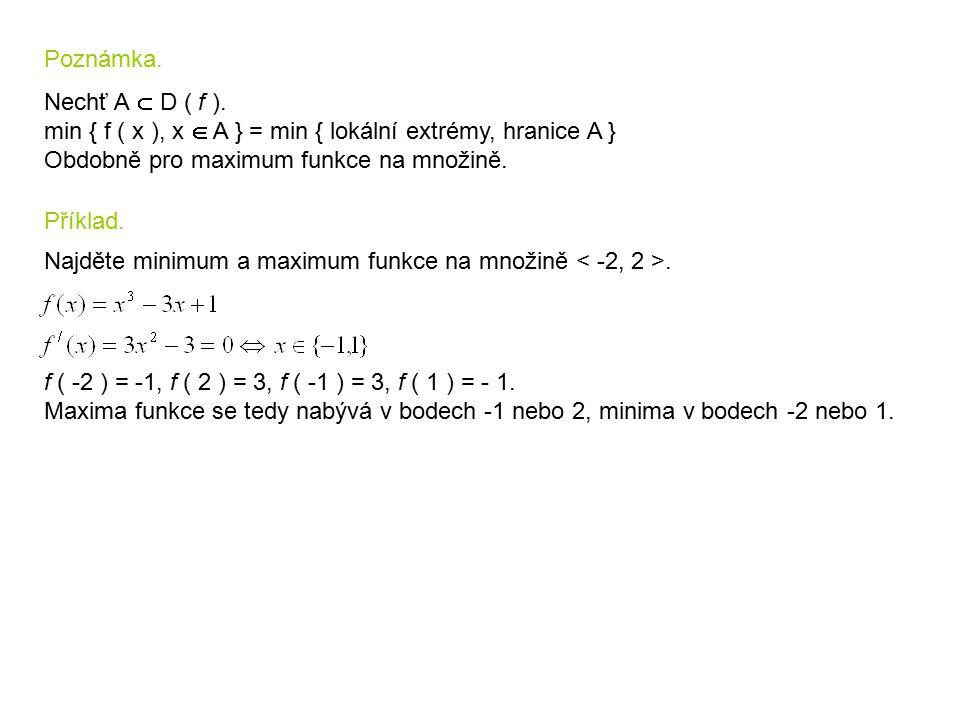 Poznámka. Nechť A  D ( f ). min { f ( x ), x  A } = min { lokální extrémy, hranice A } Obdobně pro maximum funkce na množině.