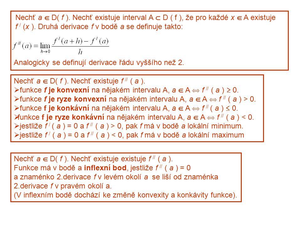 Nechť a  D( f ). Nechť existuje interval A  D ( f ), že pro každé x  A existuje