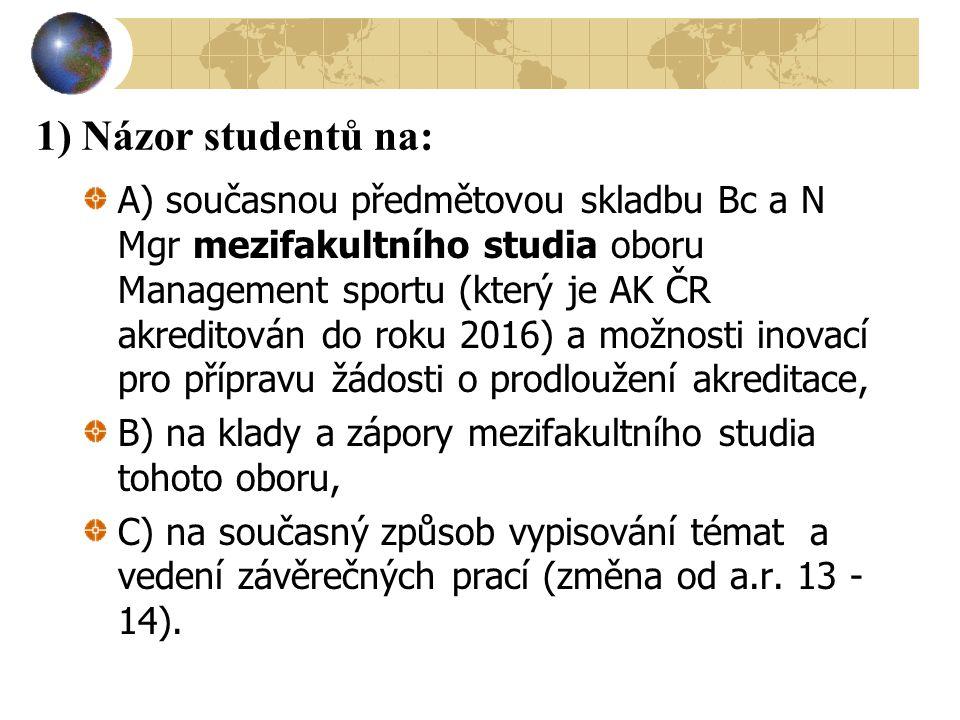 1) Názor studentů na:
