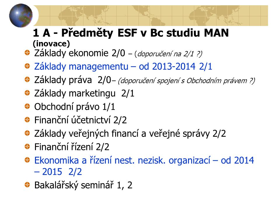 1 A - Předměty ESF v Bc studiu MAN (inovace)
