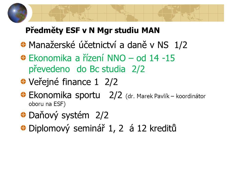 Předměty ESF v N Mgr studiu MAN