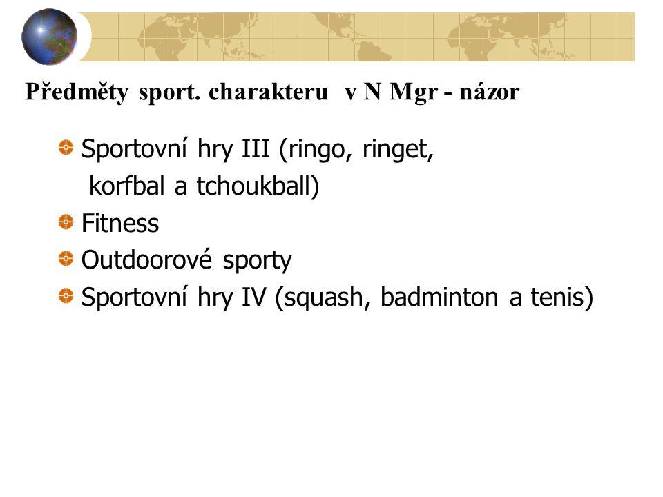 Předměty sport. charakteru v N Mgr - názor