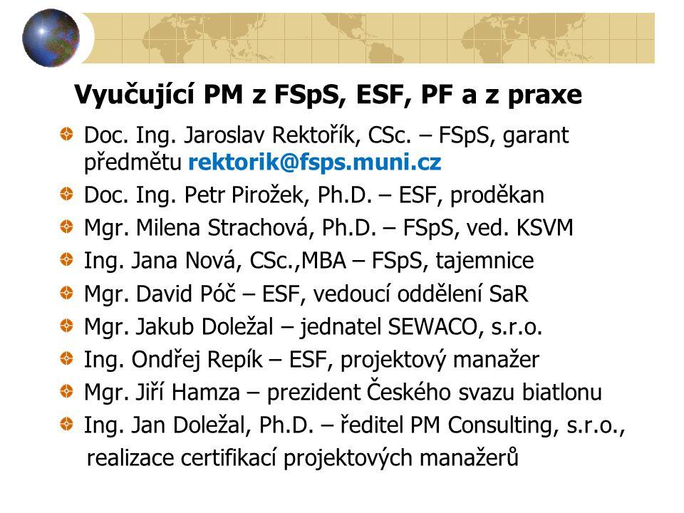 Vyučující PM z FSpS, ESF, PF a z praxe