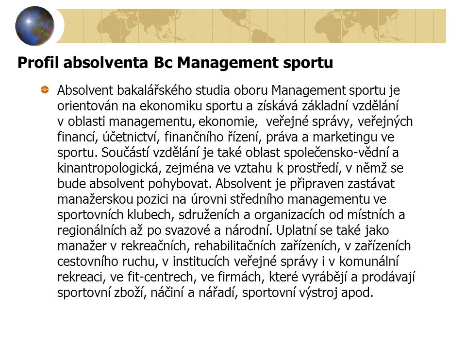 Profil absolventa Bc Management sportu