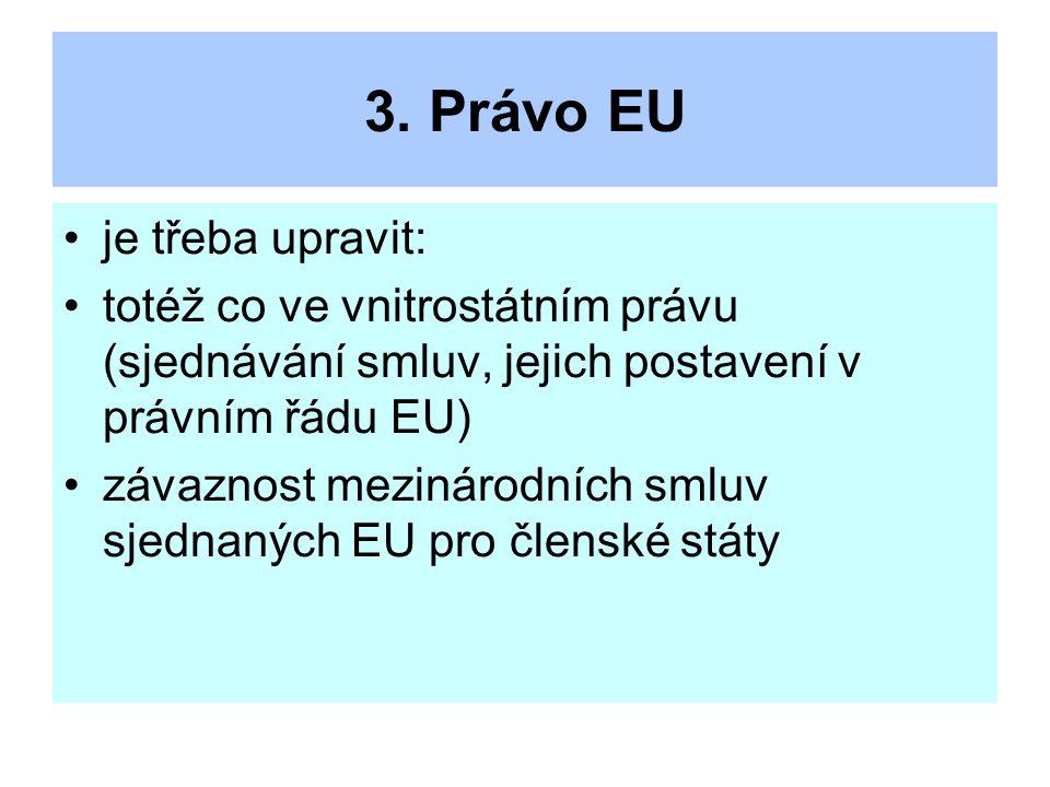 3. Právo EU je třeba upravit: