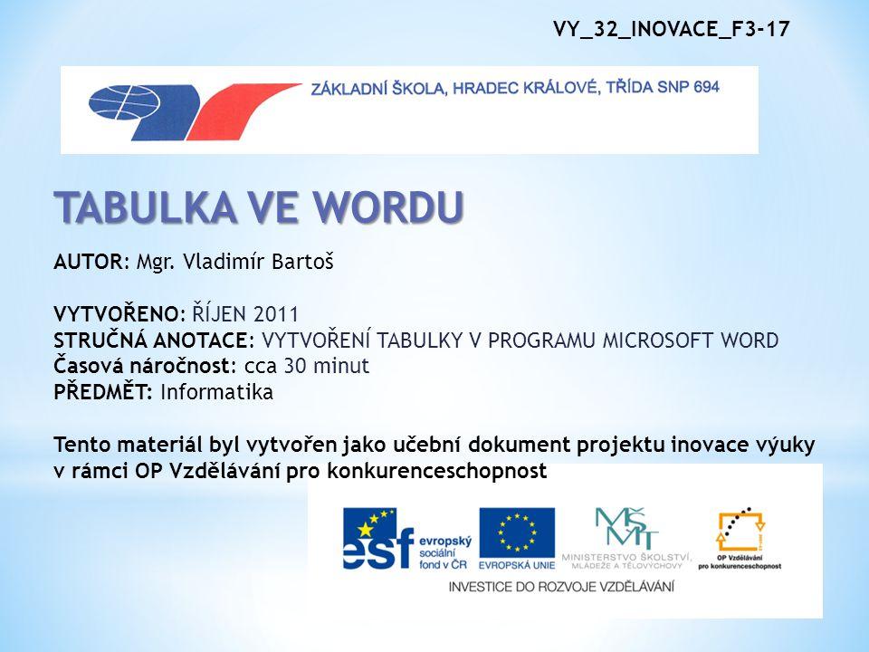 TABULKA VE WORDU VY_32_INOVACE_F3-17 AUTOR: Mgr. Vladimír Bartoš