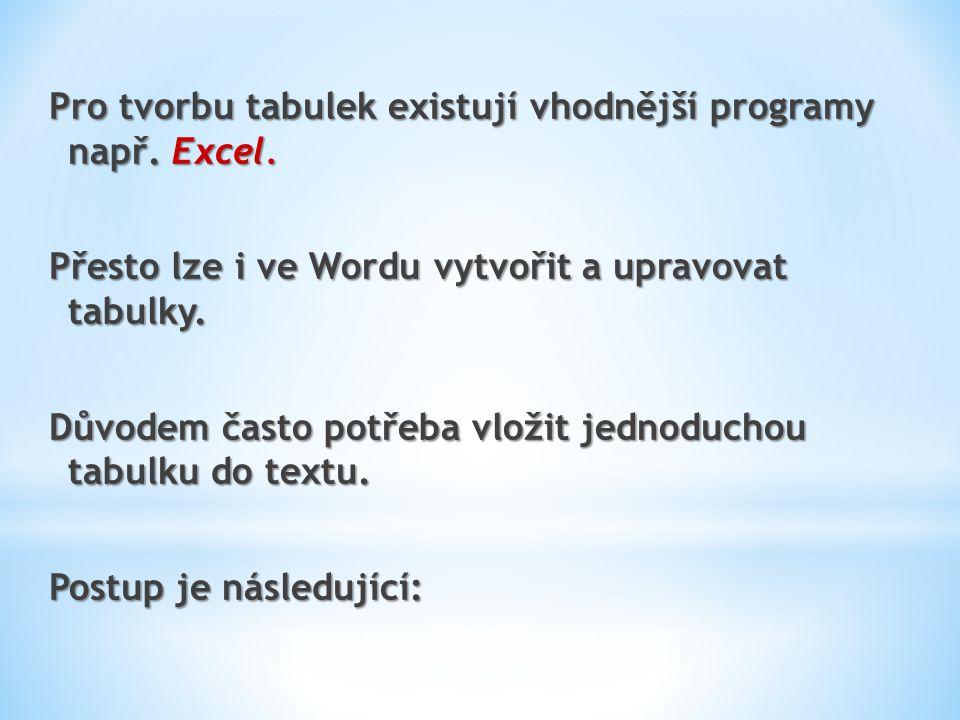 Pro tvorbu tabulek existují vhodnější programy např. Excel.