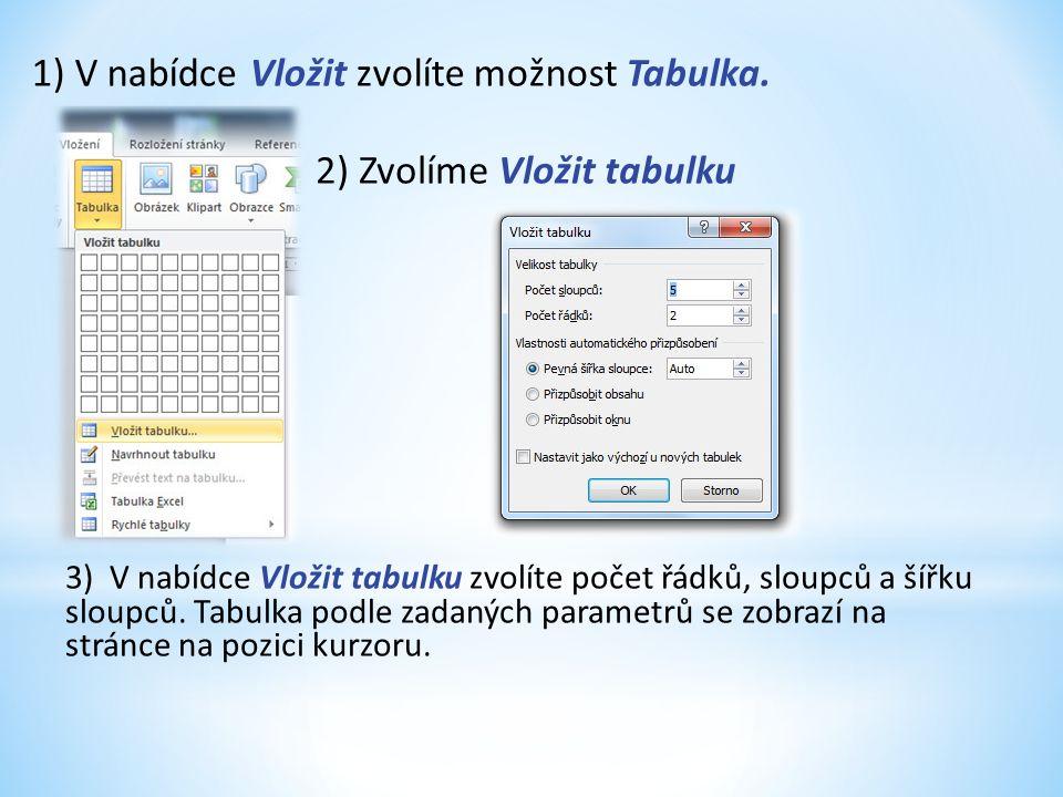 1) V nabídce Vložit zvolíte možnost Tabulka.