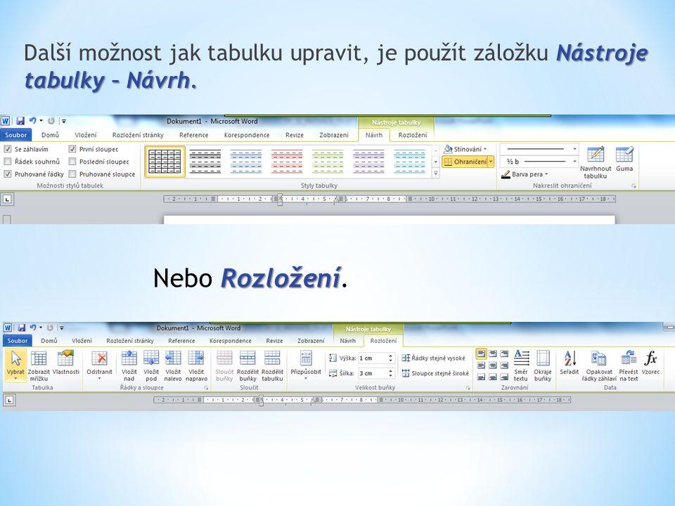 Další možnost jak tabulku upravit, je použít záložku Nástroje tabulky – Návrh.