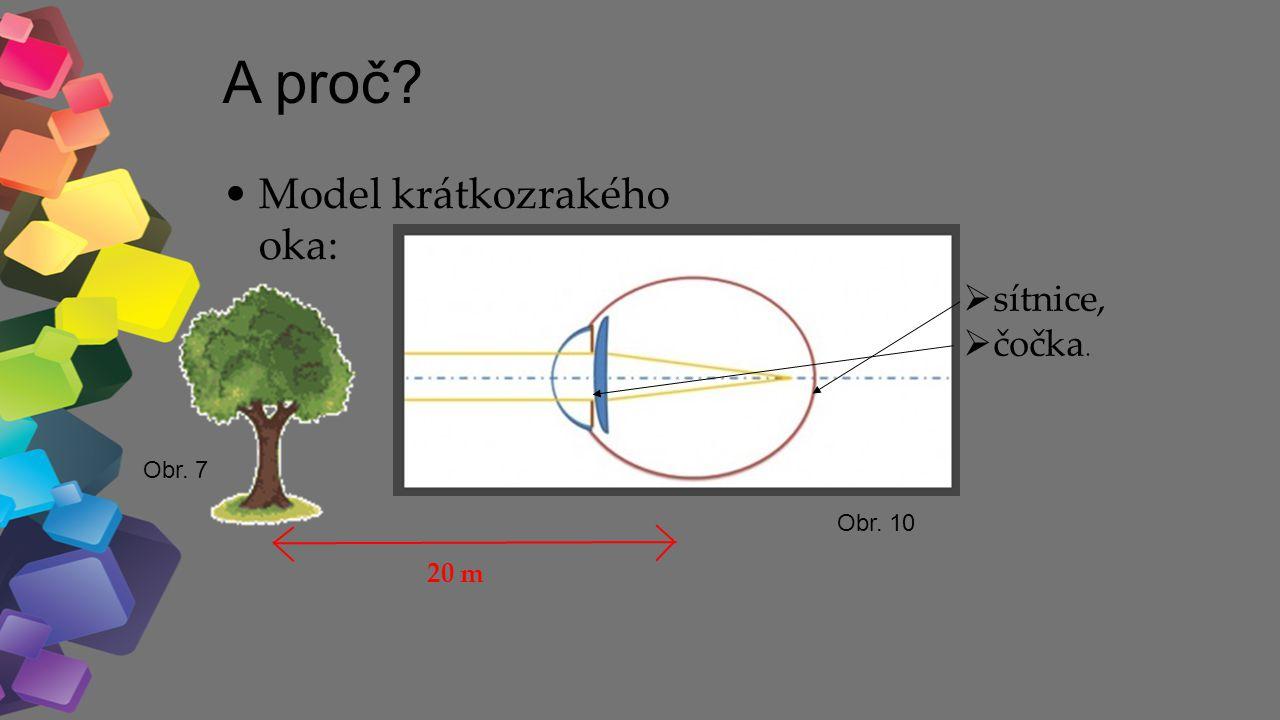 A proč Model krátkozrakého oka: 20 m sítnice, čočka. Obr. 7 Obr. 10