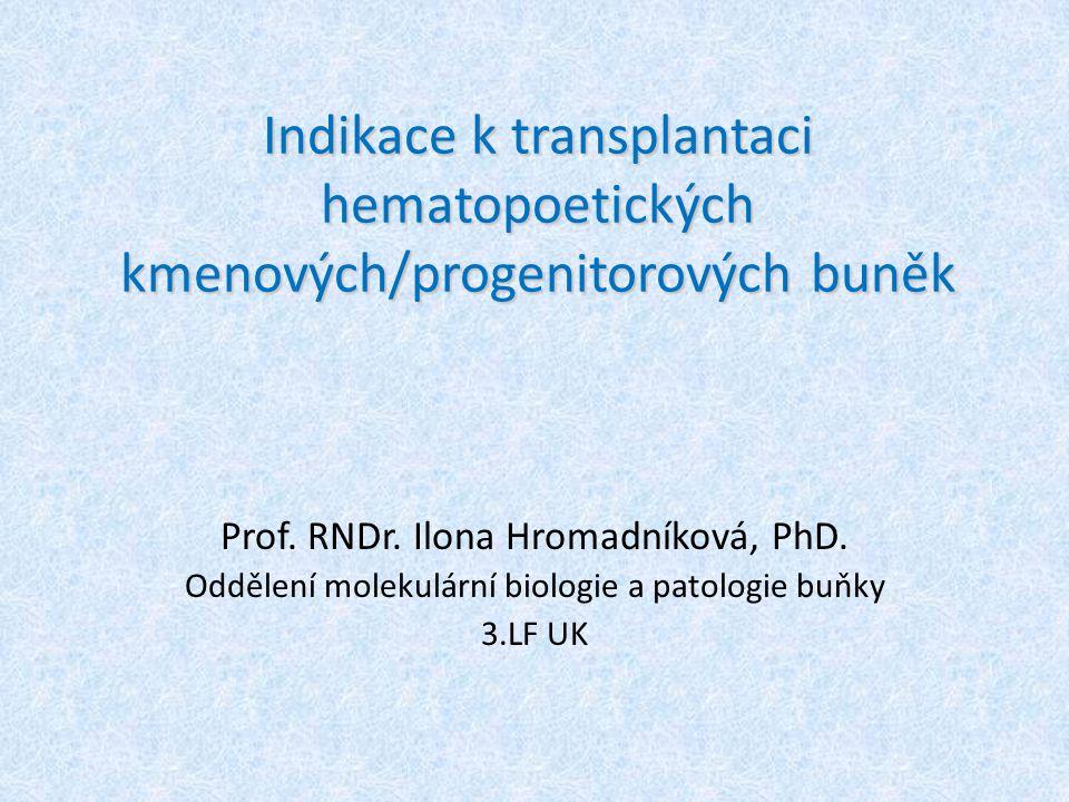 Indikace k transplantaci hematopoetických kmenových/progenitorových buněk