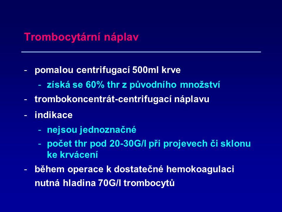 Trombocytární náplav pomalou centrifugací 500ml krve