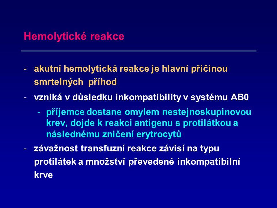Hemolytické reakce akutní hemolytická reakce je hlavní příčinou smrtelných příhod. vzniká v důsledku inkompatibility v systému AB0.