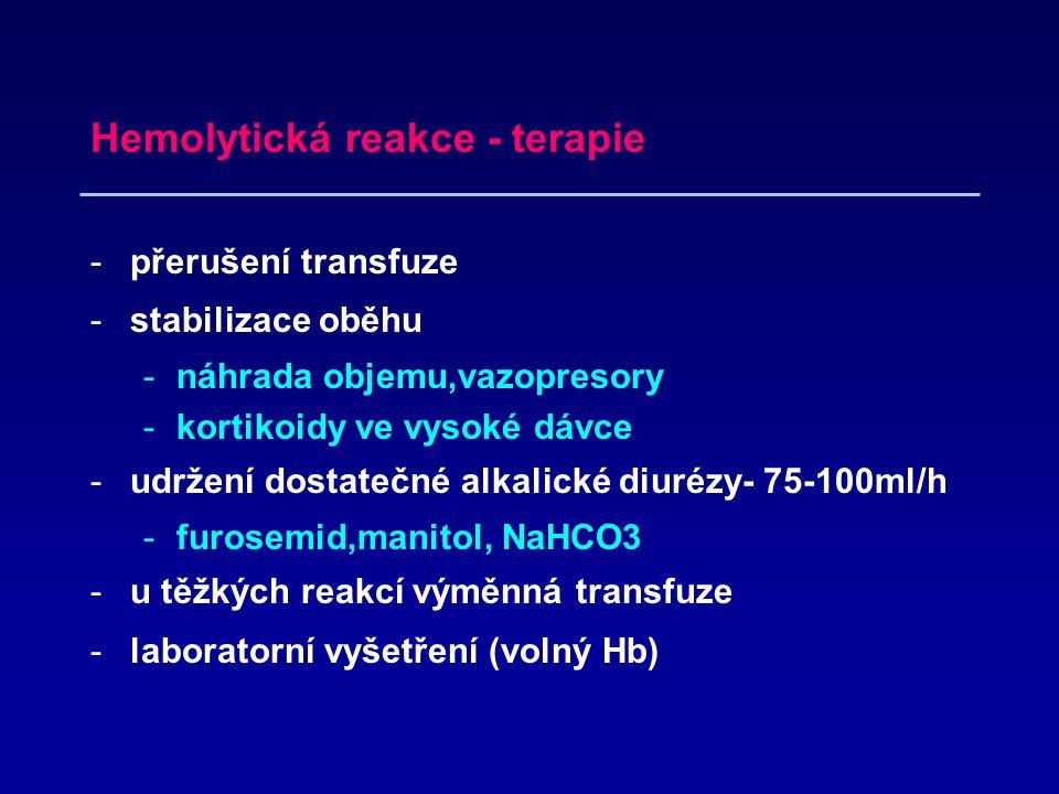 Hemolytická reakce - terapie