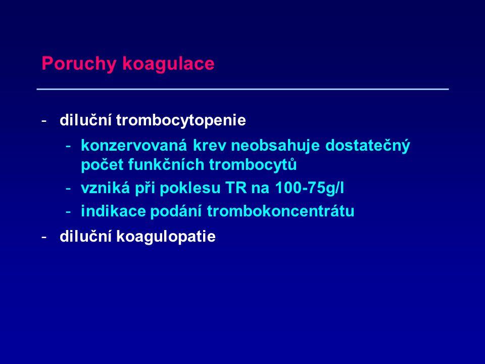Poruchy koagulace diluční trombocytopenie