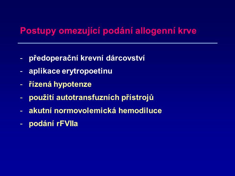 Postupy omezující podání allogenní krve
