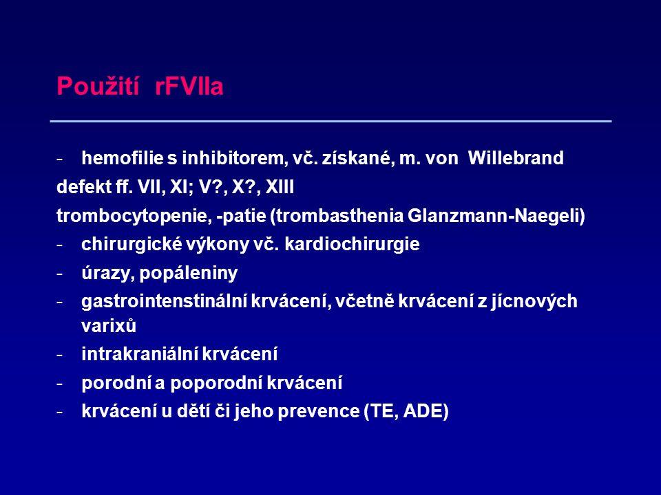 Použití rFVIIa hemofilie s inhibitorem, vč. získané, m. von Willebrand