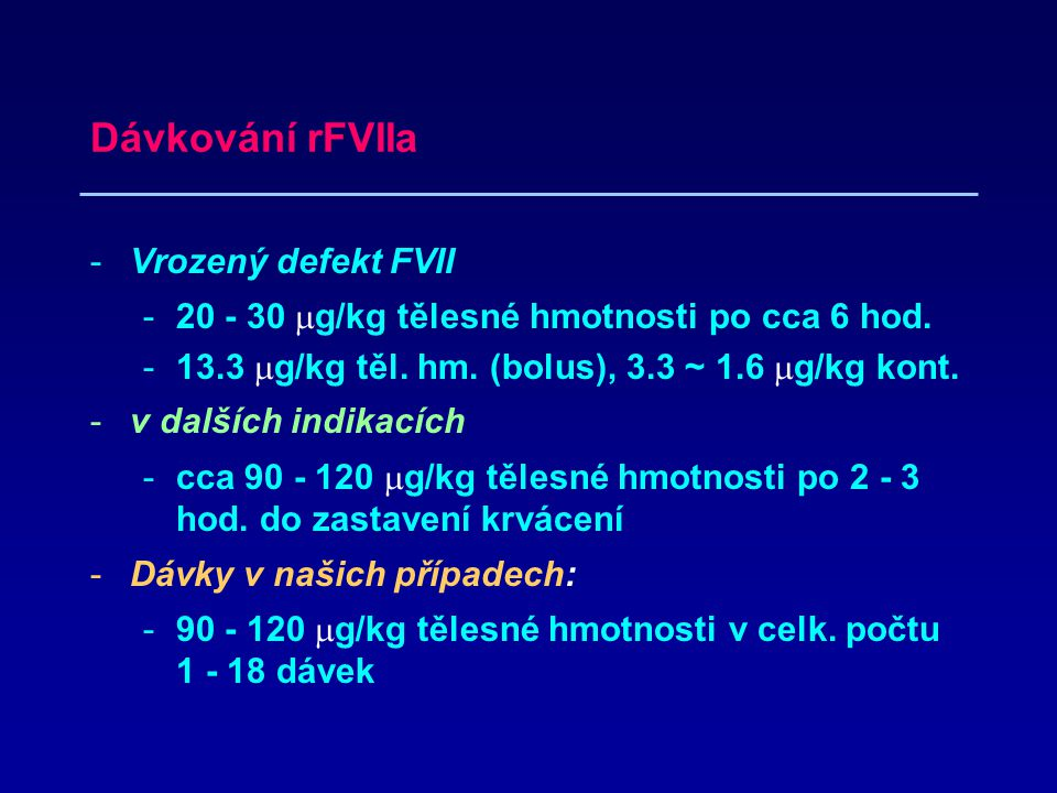 Dávkování rFVIIa Vrozený defekt FVII