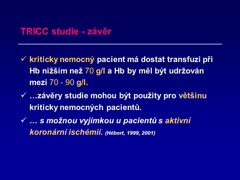 TRICC studie - závěr kriticky nemocný pacient má dostat transfuzi při Hb nižším než 70 g/l a Hb by měl být udržován mezi 70 - 90 g/l.