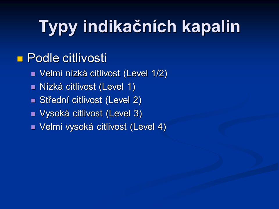 Typy indikačních kapalin