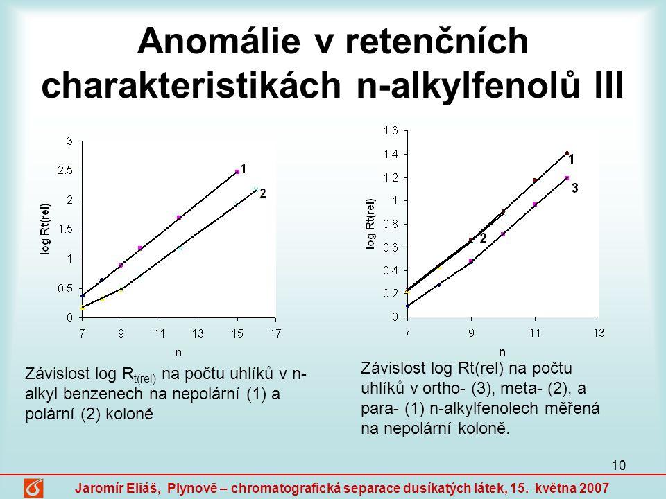 Anomálie v retenčních charakteristikách n-alkylfenolů III