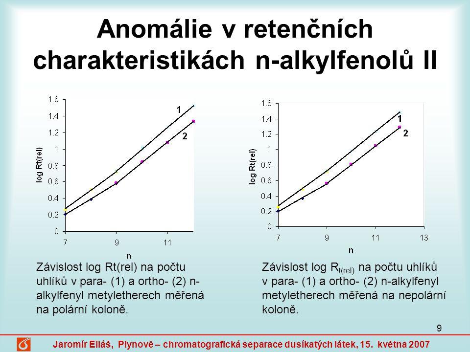 Anomálie v retenčních charakteristikách n-alkylfenolů II