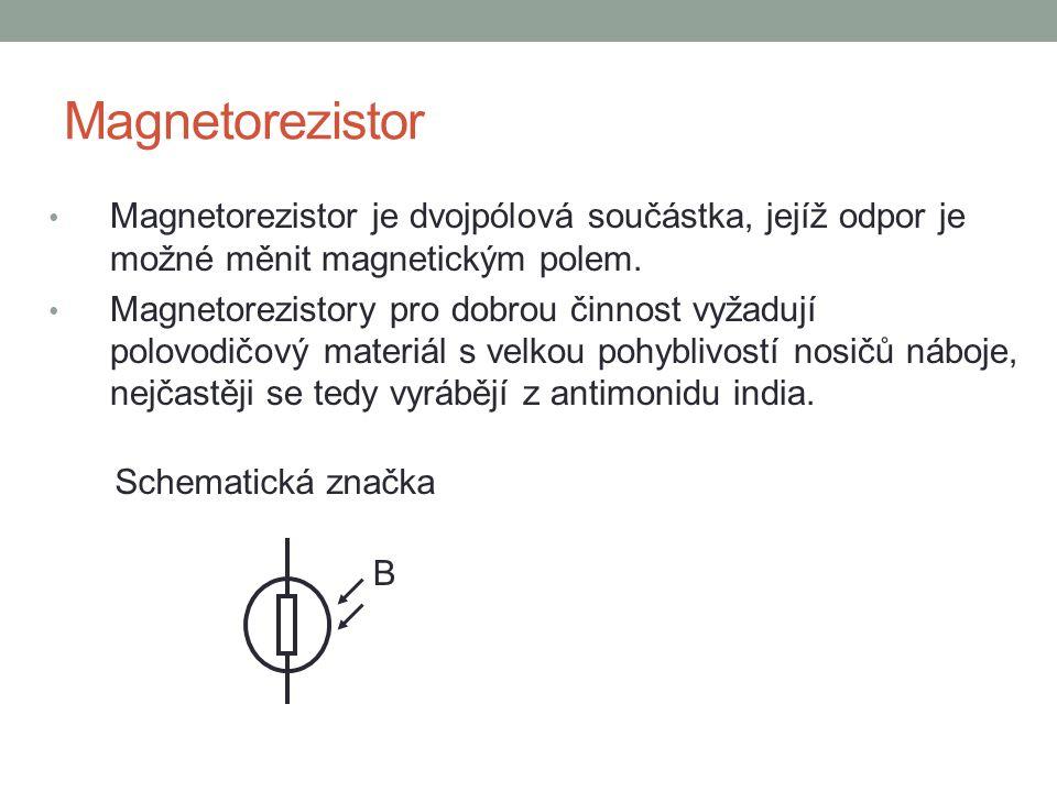 Magnetorezistor Magnetorezistor je dvojpólová součástka, jejíž odpor je možné měnit magnetickým polem.