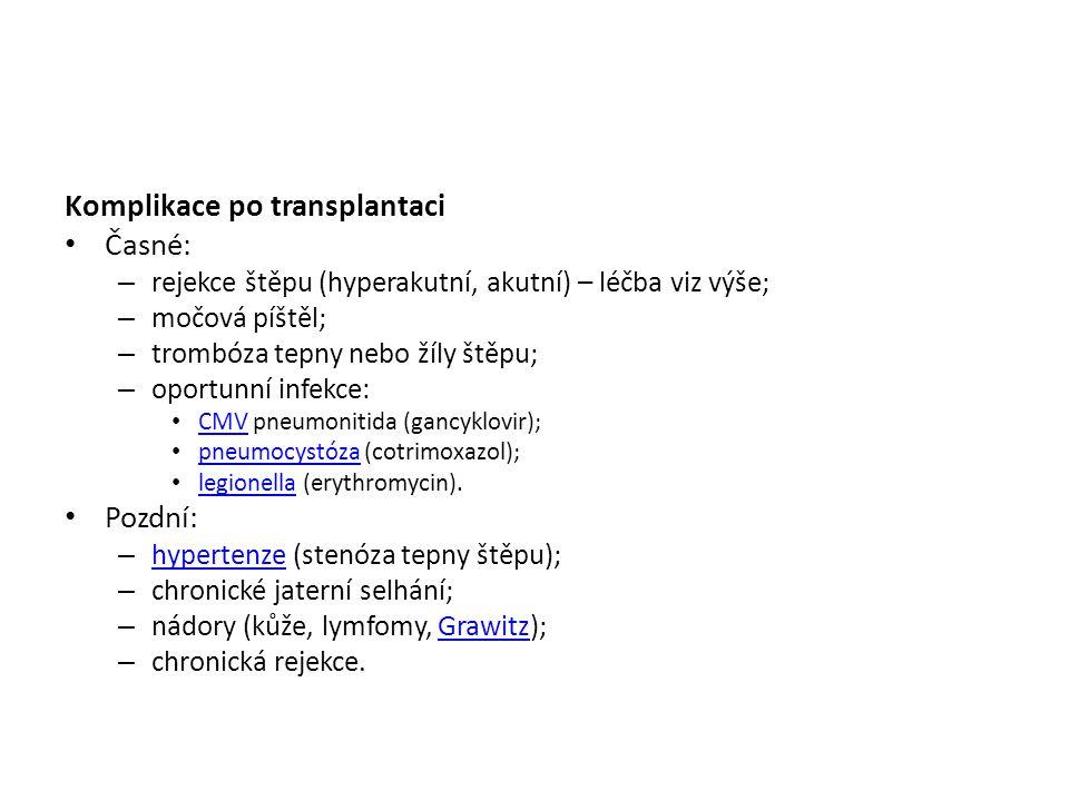 Komplikace po transplantaci Časné: