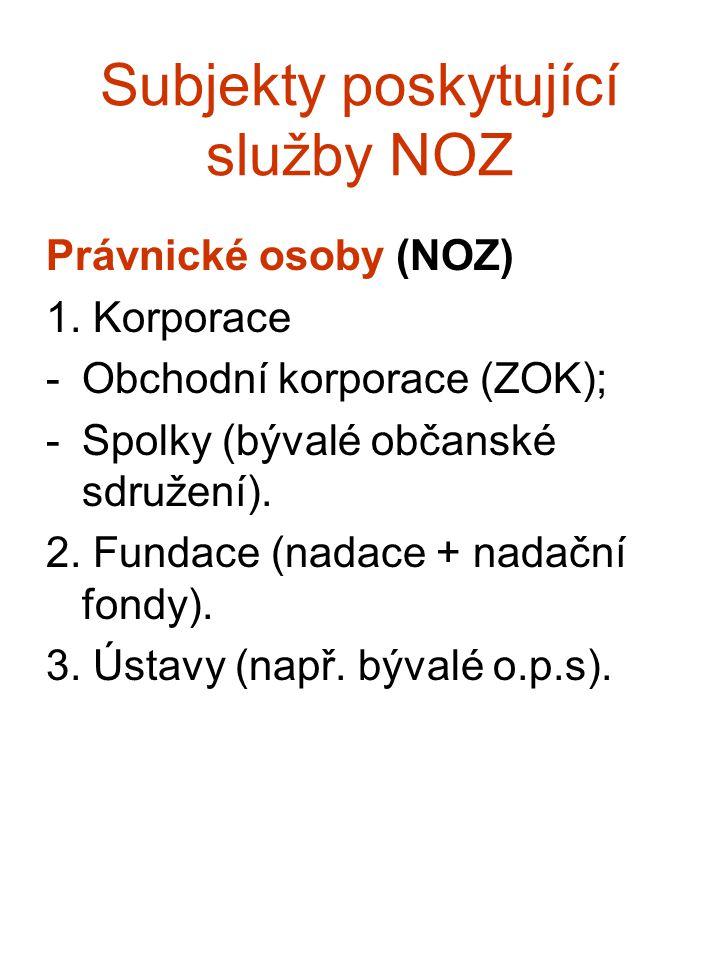Subjekty poskytující služby NOZ