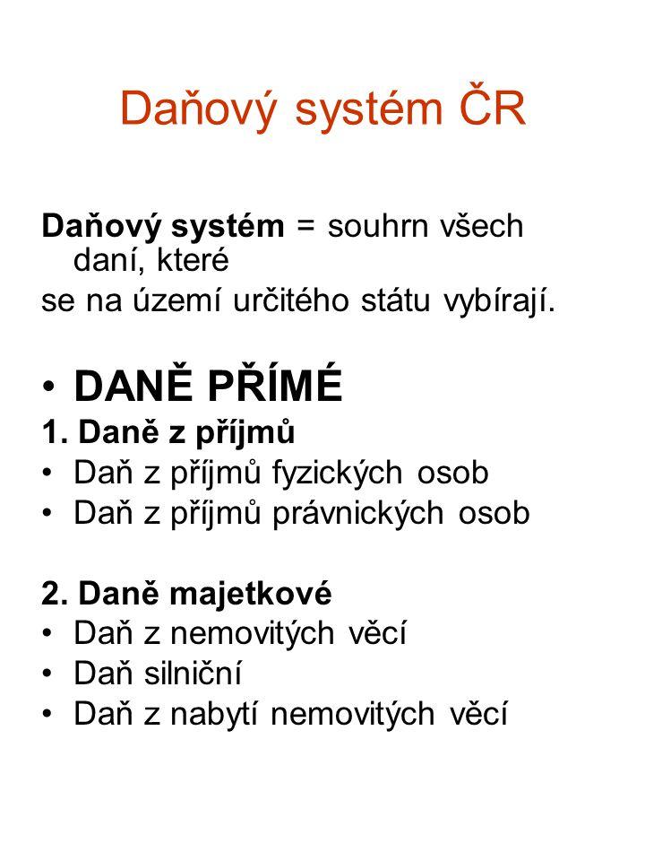 Daňový systém ČR DANĚ PŘÍMÉ Daňový systém = souhrn všech daní, které