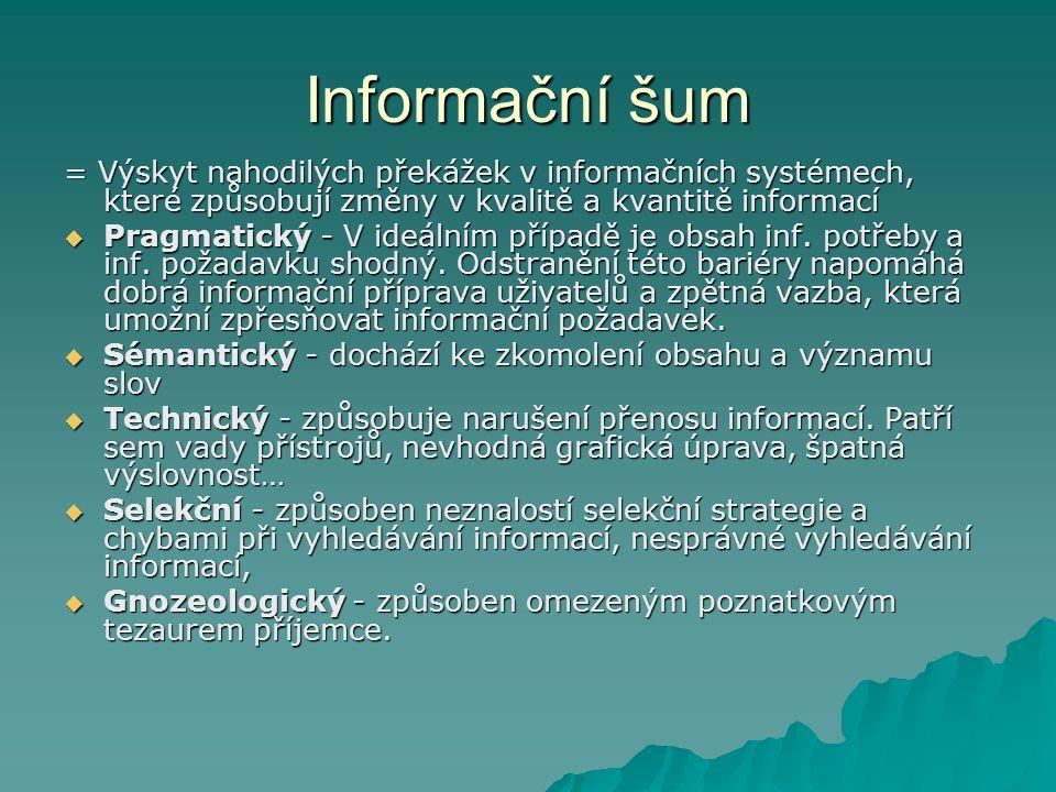 Informační šum = Výskyt nahodilých překážek v informačních systémech, které způsobují změny v kvalitě a kvantitě informací.