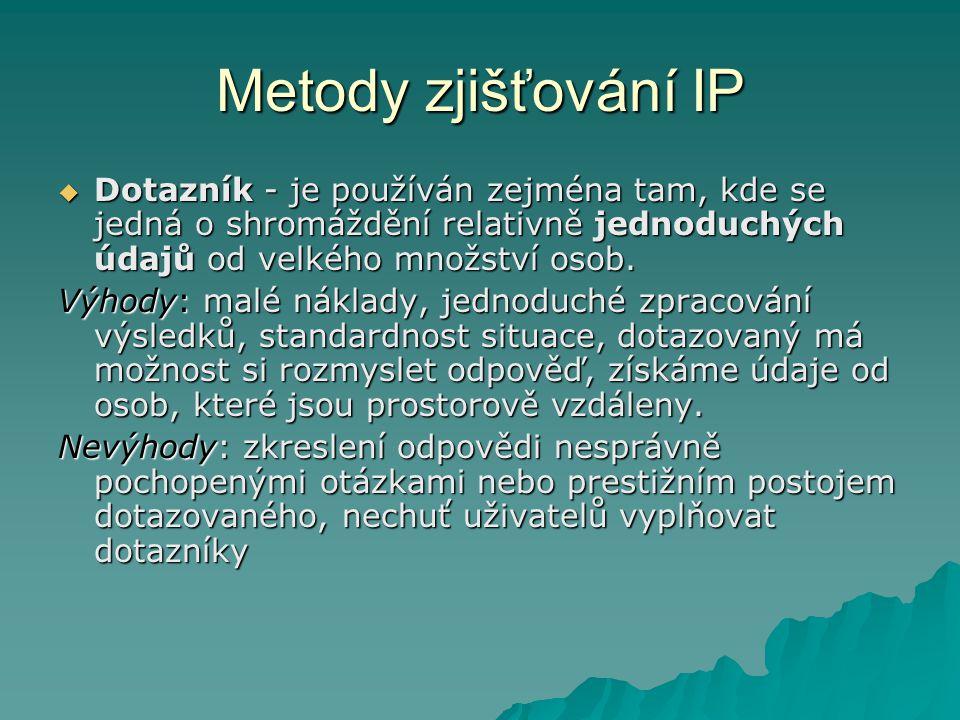 Metody zjišťování IP Dotazník - je používán zejména tam, kde se jedná o shromáždění relativně jednoduchých údajů od velkého množství osob.