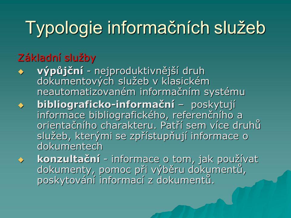 Typologie informačních služeb