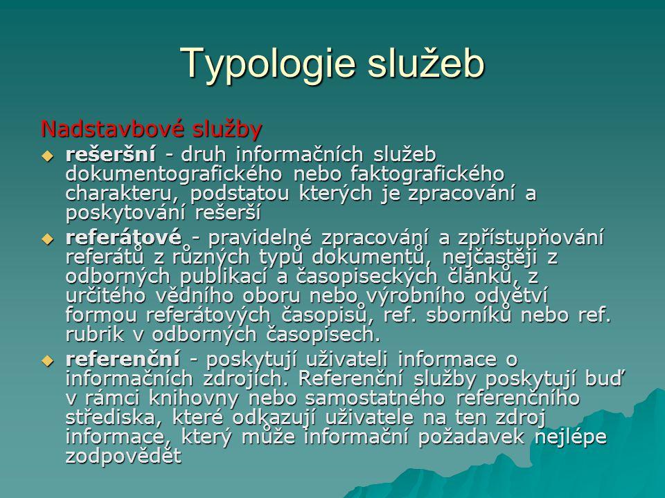 Typologie služeb Nadstavbové služby