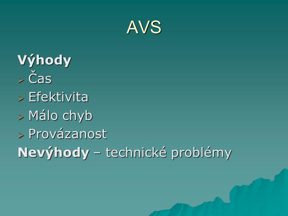 AVS Výhody Čas Efektivita Málo chyb Provázanost