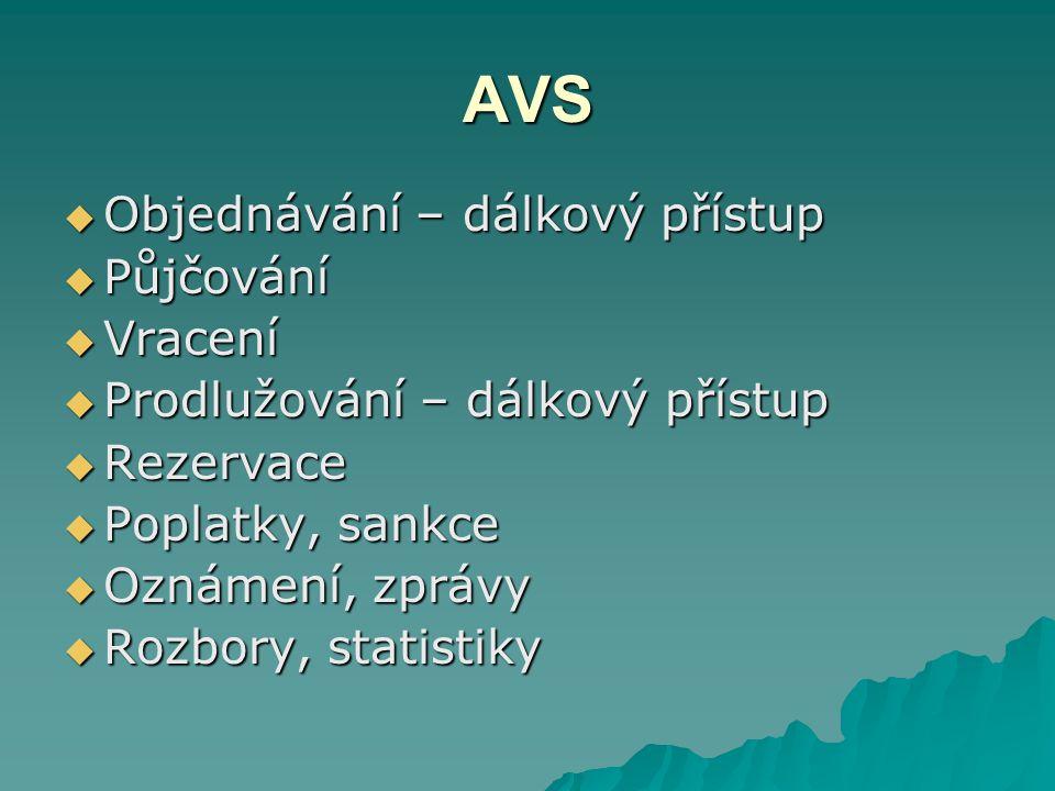 AVS Objednávání – dálkový přístup Půjčování Vracení