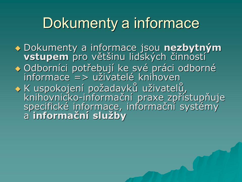 Dokumenty a informace Dokumenty a informace jsou nezbytným vstupem pro většinu lidských činností.