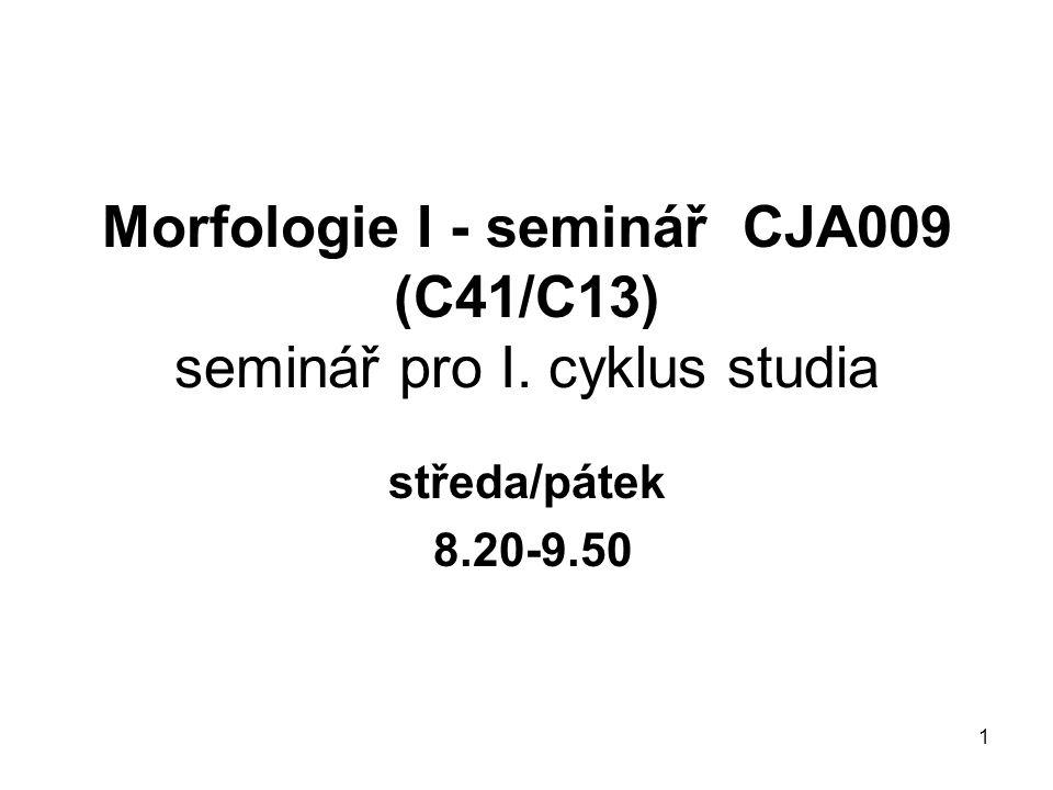 Morfologie I - seminář CJA009 (C41/C13) seminář pro I. cyklus studia