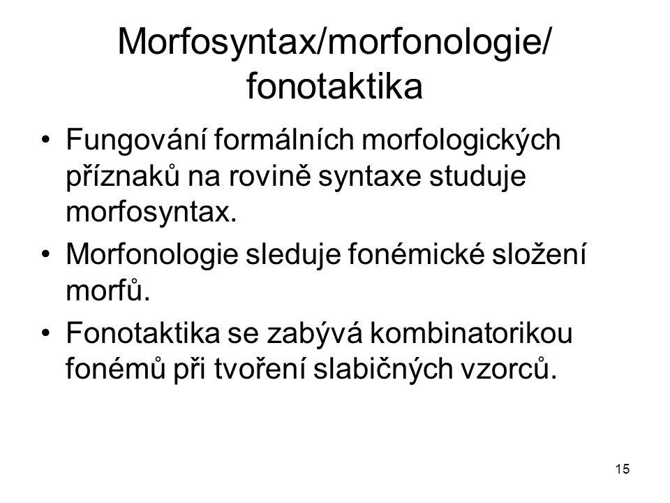 Morfosyntax/morfonologie/ fonotaktika