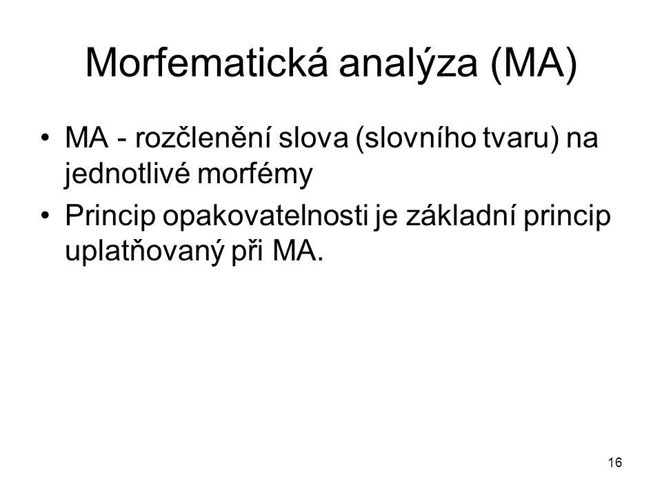 Morfematická analýza (MA)