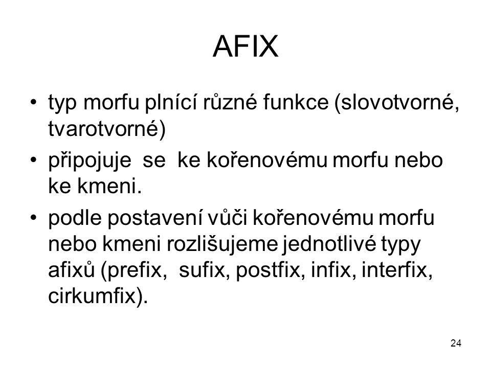 AFIX typ morfu plnící různé funkce (slovotvorné, tvarotvorné)
